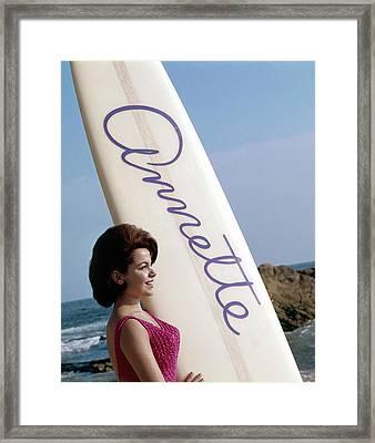 Bikini Beach, Annette Funicello, 1964 Framed Print