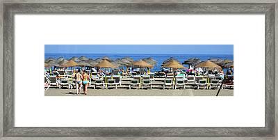 Bikini Girls Beach Umbrellas Costa Del Sol Spain Framed Print