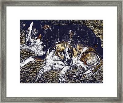 Bill And April Dog Pals Framed Print by Robert Goudreau