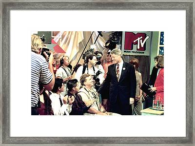 Bill Clinton Appears With Young Framed Print by Everett