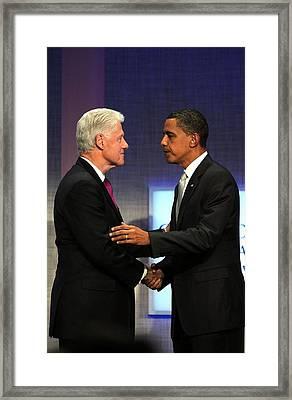 Bill Clinton, Barack Obama At A Public Framed Print