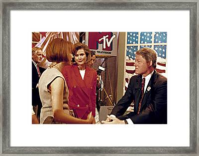 Bill Clinton, Being Interviewed Framed Print by Everett