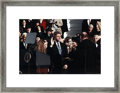 Bill Clinton Center, Taking The Oath Framed Print