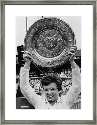 Billie Jean King Holding Wimbledon Framed Print by Everett