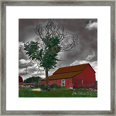 Bills Barn   Red Framed Print by John Selmer Sr