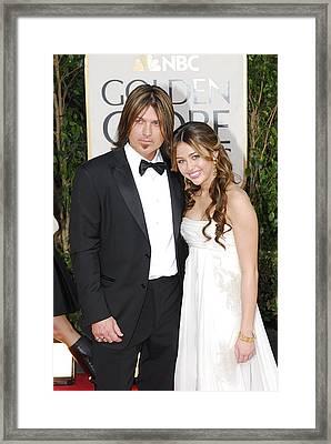 Billy Ray Cyrus, Miley Cyrus Wearing Framed Print