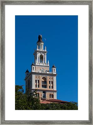 Framed Print featuring the photograph Biltmore Hotel Tower And Moon by Ed Gleichman