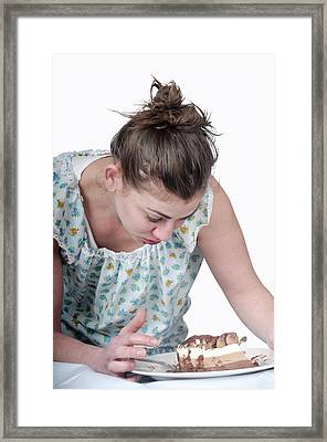 Binging Woman Craving Food Framed Print by Photostock-israel