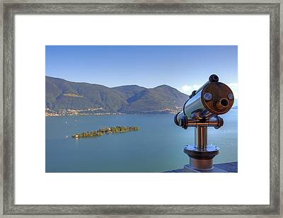 Binoculars Focused On The Isole Di Brissago Framed Print