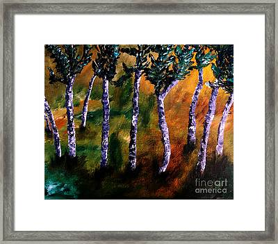 Framed Print featuring the painting Birch Forest by Ayasha Loya