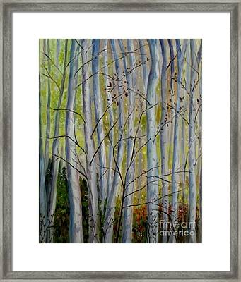 Framed Print featuring the painting Birch Forest by Julie Brugh Riffey