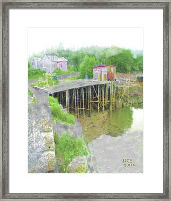 Birch Harbor Fog Framed Print