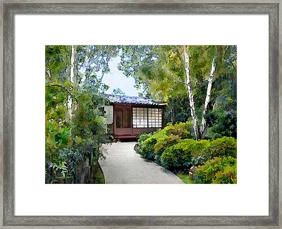 Birch Trees At The Teahouse Framed Print by Elaine Plesser