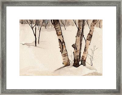 Birch Trees In The Snow Framed Print by Barb Kirpluk