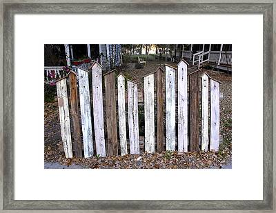Bird House Fence With Black Cat Framed Print