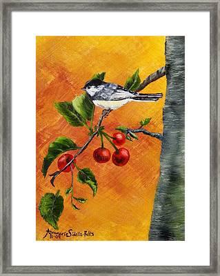 Bird In Chery Tree Framed Print