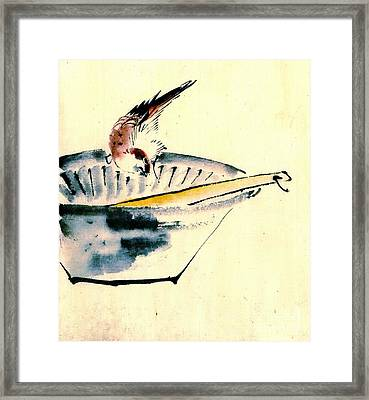 Bird Perched On Bowl 1840 Framed Print by Padre Art