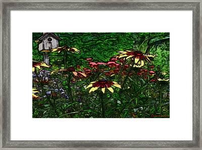 Birdhouse Garden Framed Print by Debra     Vatalaro