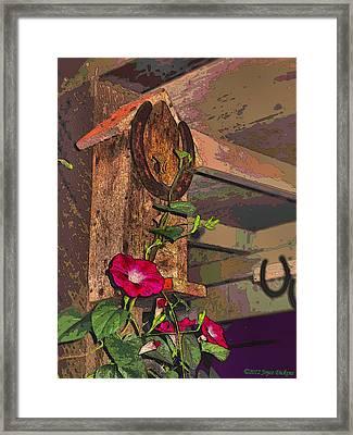 Birdhouse Morning Glories Two Framed Print by Joyce Dickens