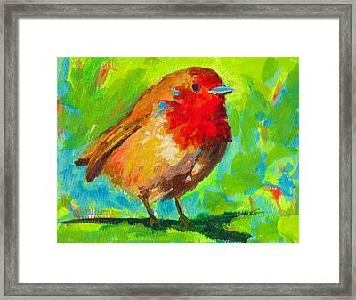 Birdie Bird - Robin Framed Print by Patricia Awapara