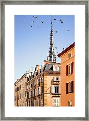 Birds Flying Over Church In Villefranche Sur Saone Framed Print by Copyrights by Sigfrid López