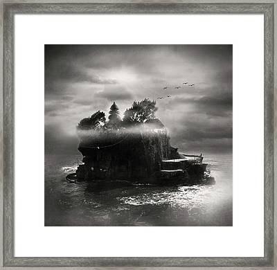 Birds Flying Over Island Framed Print by The ethereality