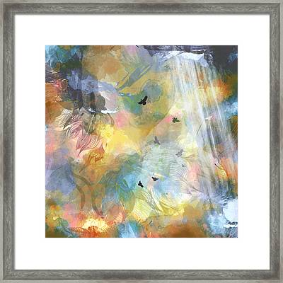 Birds In A Nebula Framed Print by Carly Ralph