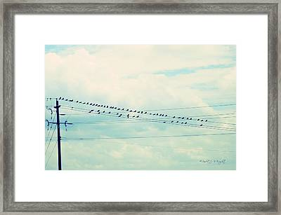 Birds On Wires Blue Tint Framed Print by Paulette B Wright