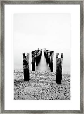 Birds Resting On A Derelict Pier Framed Print by Scott Masterton