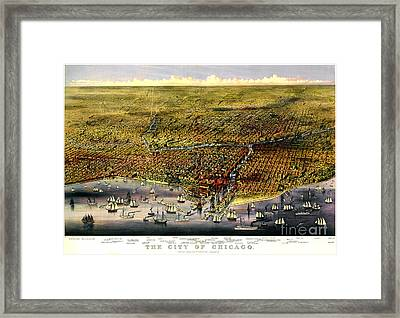 Birdseye Map Of Chicago By Parsons And Atwater 1874 Framed Print by Pg Reproductions