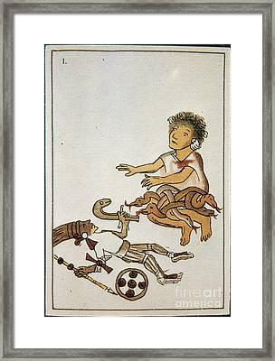 Birth If Huitzilopochtli, 16th Century Framed Print by Photo Researchers