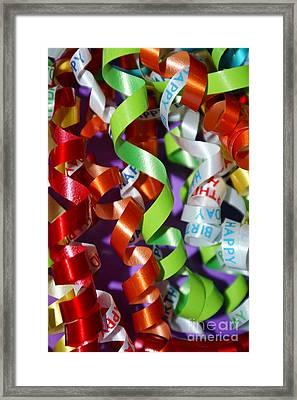 Birthday Ribbon Framed Print by Lynda Dawson-Youngclaus