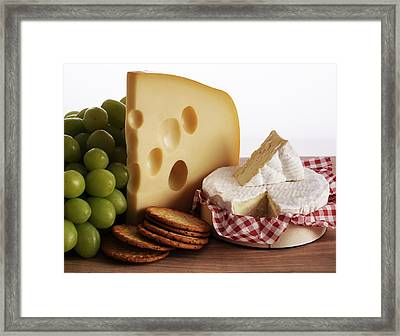 Biscuits, Grapes And Continental Cheeses Framed Print by Simon Battensby