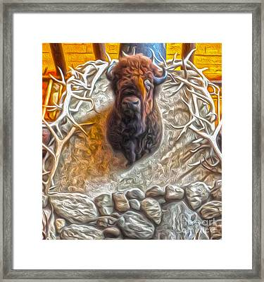 Framed Print featuring the painting Bison Head by Gregory Dyer