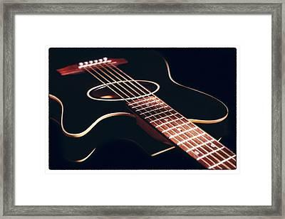 Black Acoustic Guitar Framed Print by Mike McGlothlen