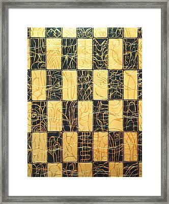Black And Gold Japanese Checkered Pattern Framed Print by Kazuya Akimoto
