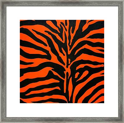 Black And Orange Zebra Framed Print