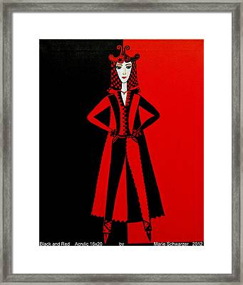 Framed Print featuring the painting Black And Red by Marie Schwarzer