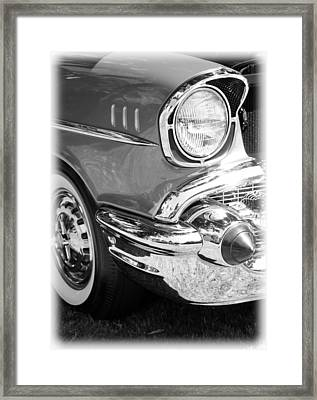 Black And White 1957 Chevy Framed Print by Steve McKinzie