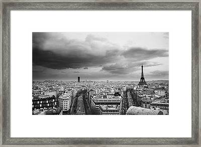 Black And White Aerial View Of An Overcast Sky Above The Eiffel Tower Framed Print