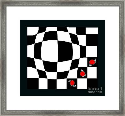 Black And White And Red Abstract Art No.66. Framed Print