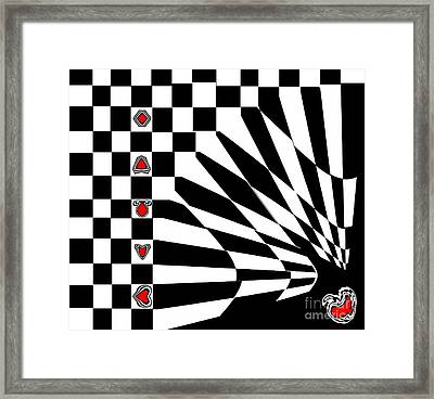 Abstract Black White Red Art No.107. Framed Print