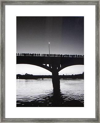 Black And White Austin Texas Bat Bridge Framed Print by Shawn Hughes