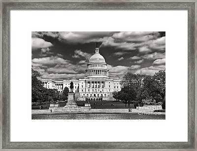 Framed Print featuring the photograph Black And White Capitol by Jim Moore