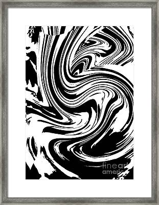 Black White Circles Waves Wortex No.211 Framed Print by Drinka Mercep