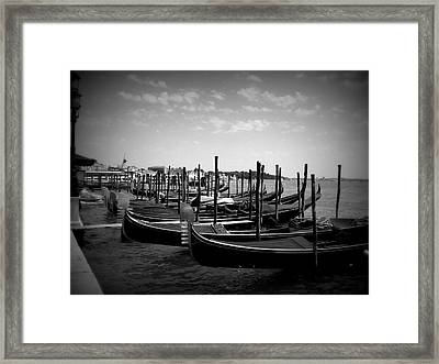 Black And White Gondolas Framed Print
