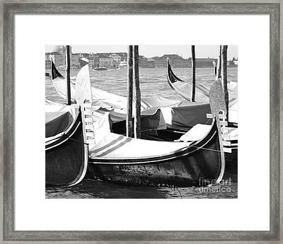 Black And White Gondolas Venice Italy Framed Print by Rebecca Margraf