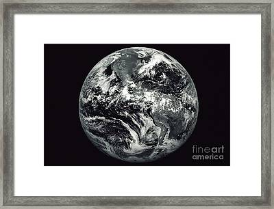 Black And White Image Of Earth Framed Print by Stocktrek Images