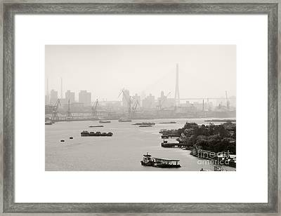 Black And White Of Cranes And River Traffic Framed Print by Jeremy Woodhouse
