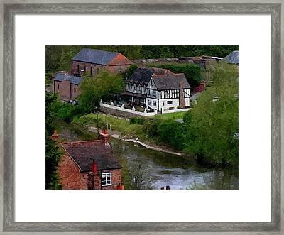 Black And White On The River Severn Framed Print